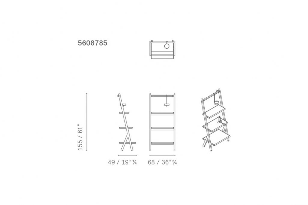 line drawing and dimensions for poltrona frau ren bookcase low