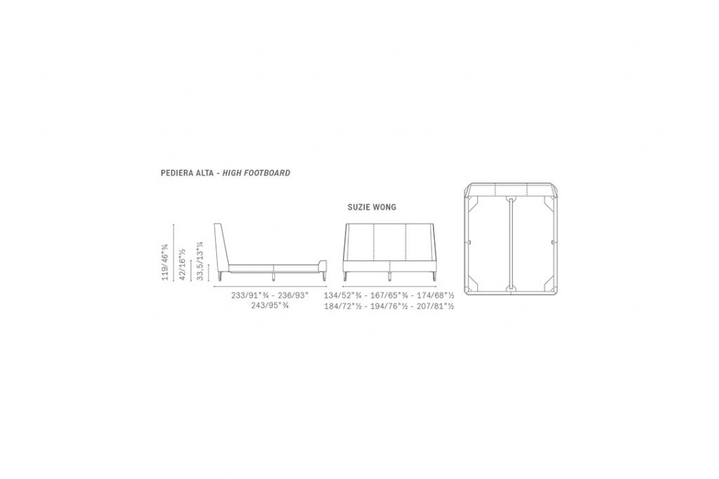 line drawing and dimensions for poltrona frau suzie wong bed high footboard