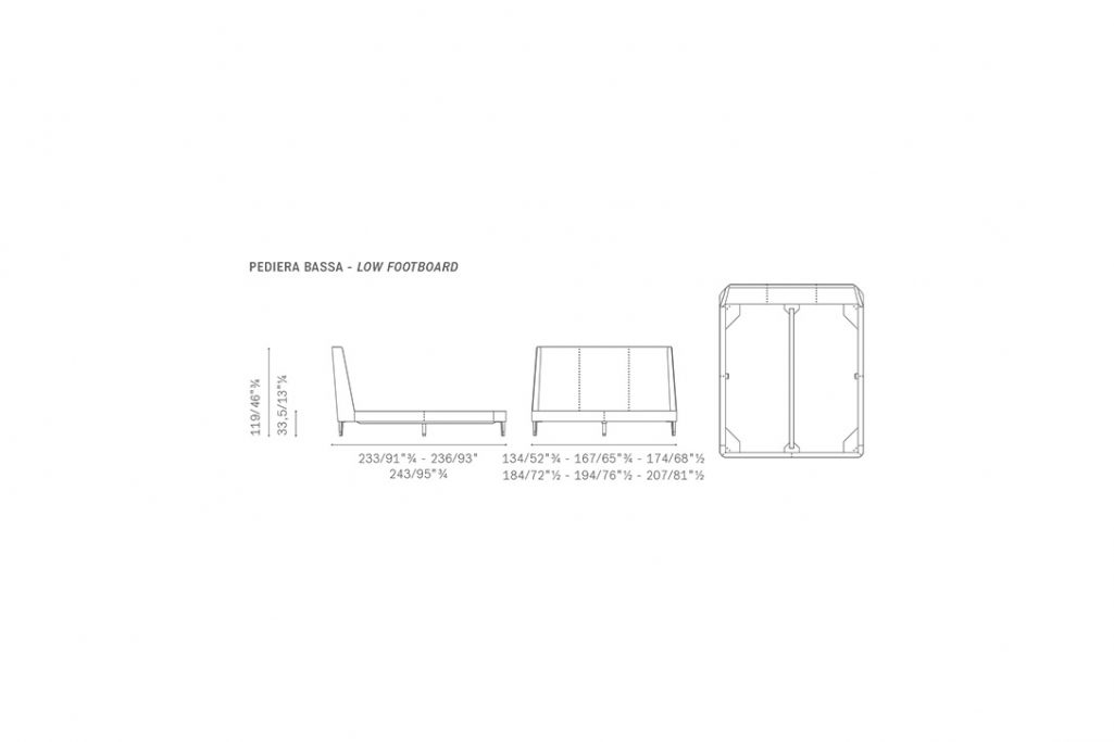 line drawing and dimensions for poltrona frau suzie wong bed low footboard