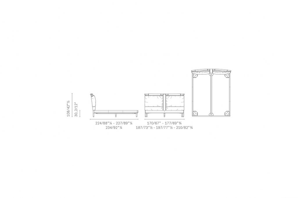 line drawing and dimensions for poltrona frau times bed