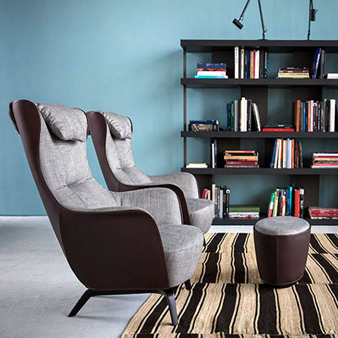 poltrona frau mamy blue armchairs and ottoman in situ