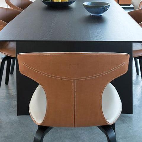 poltrona frau montera dining chairs in situ