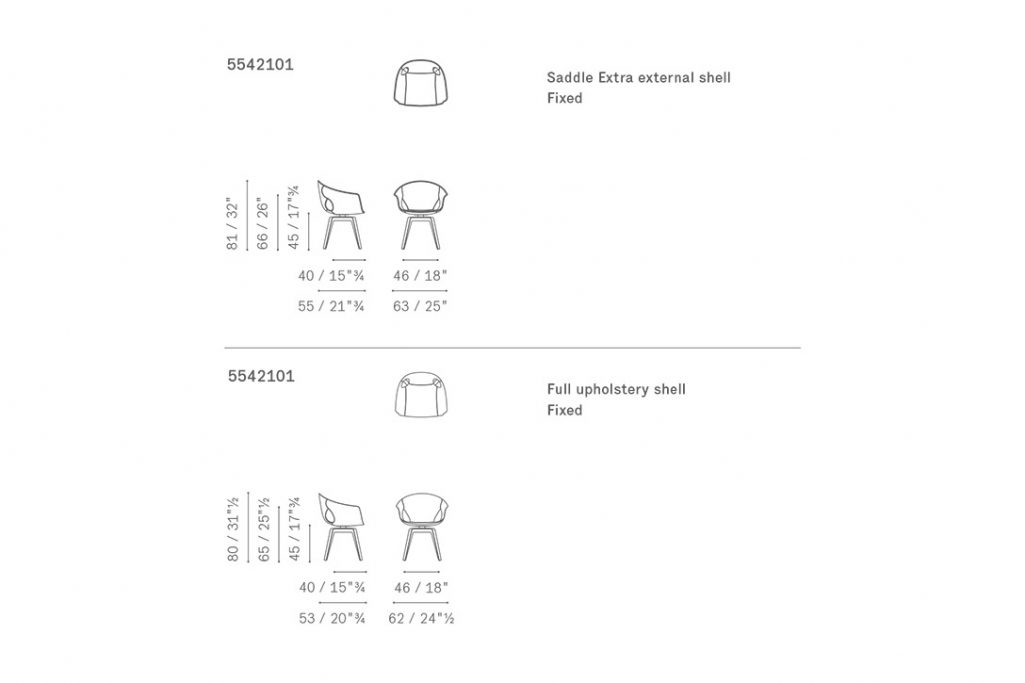 line drawing and dimensions for poltrona frau ginger dining chair fixed base