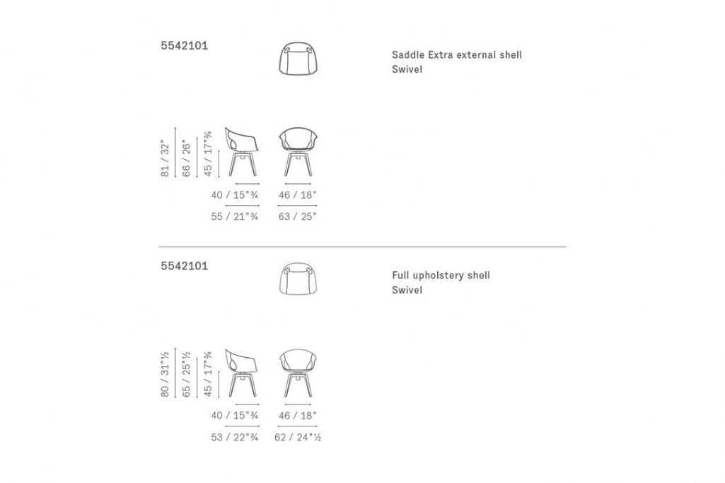 line drawing and dimensions for poltrona frau ginger dining chair swivel base