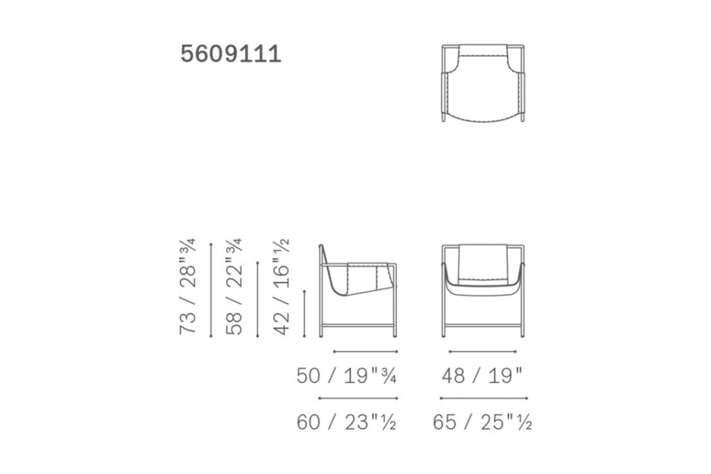line drawing and dimensions for poltrona frau ming's heart armchair
