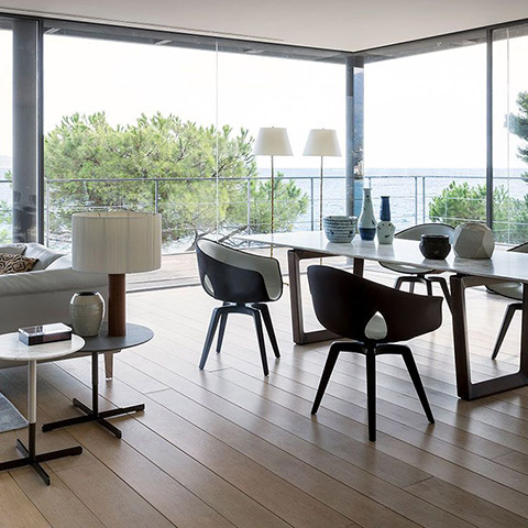 poltrona frau ginger dining chairs in situ