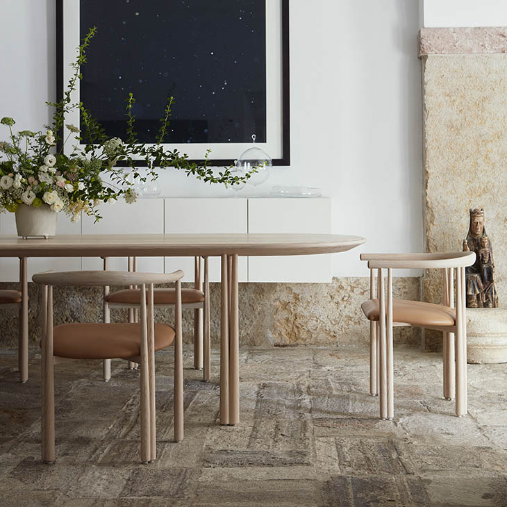 de la espada elliot table and elliot dining chairs in situ