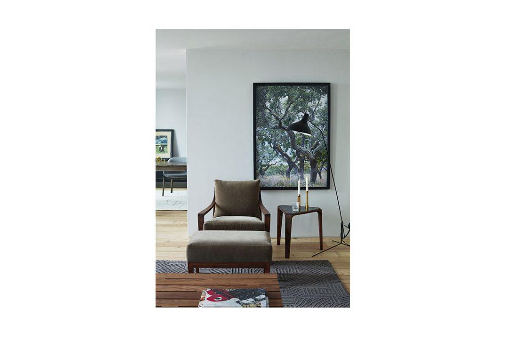 de la espada low lounge armchair and ottoman in situ
