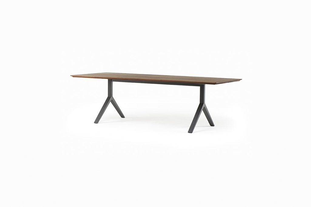 de la espada overton dining table black aluminum legs