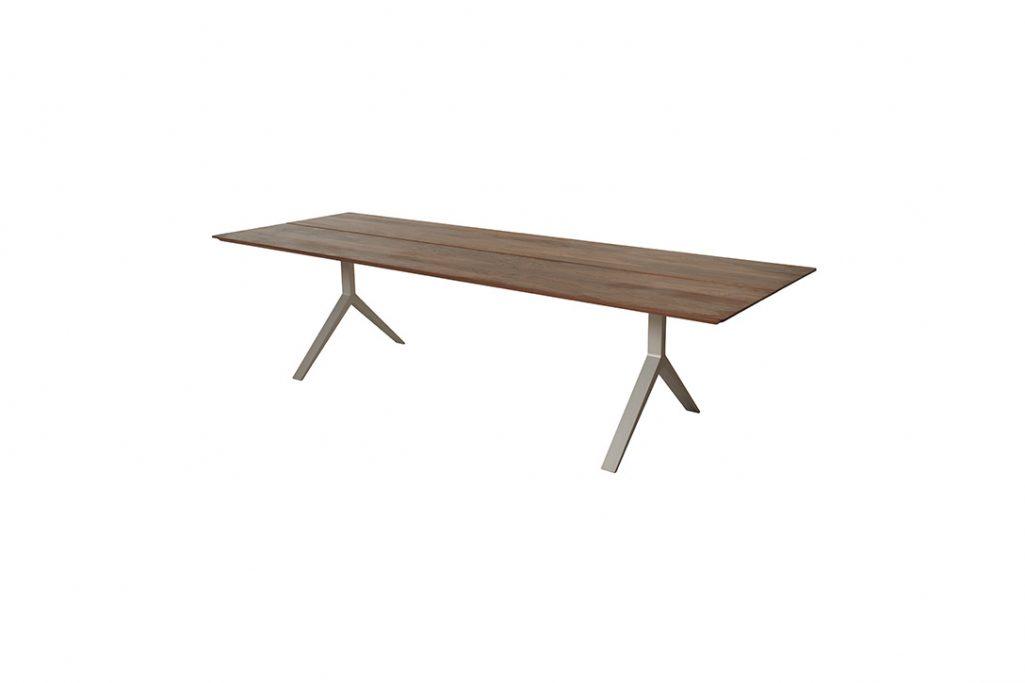 de la espada overton dining table taupe aluminum legs