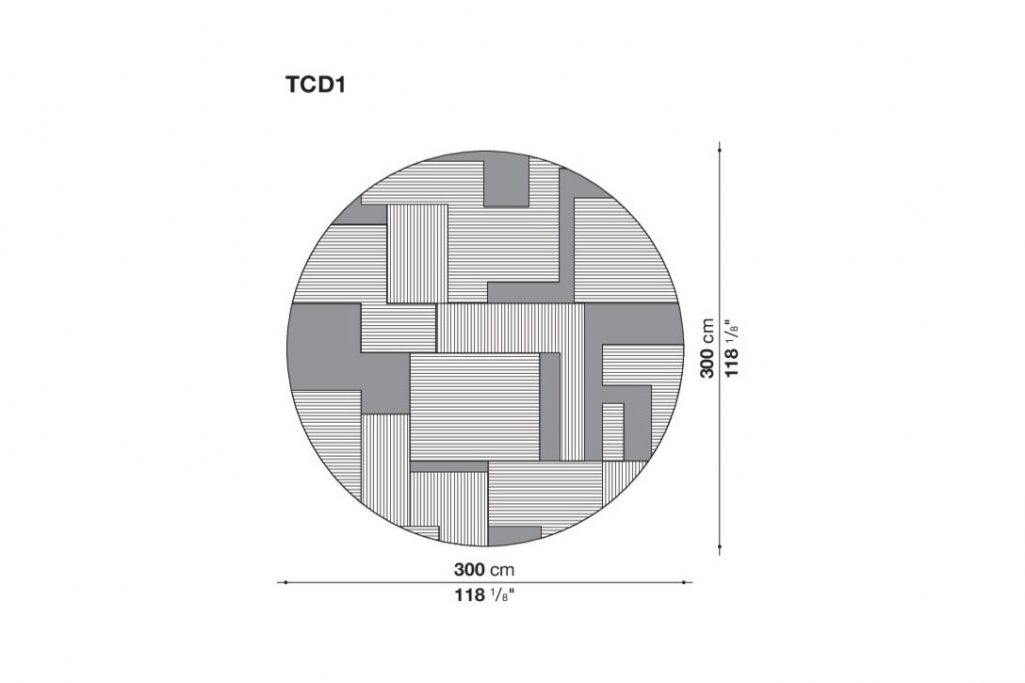 line drawing and dimensions for b&b italia caldes rug round