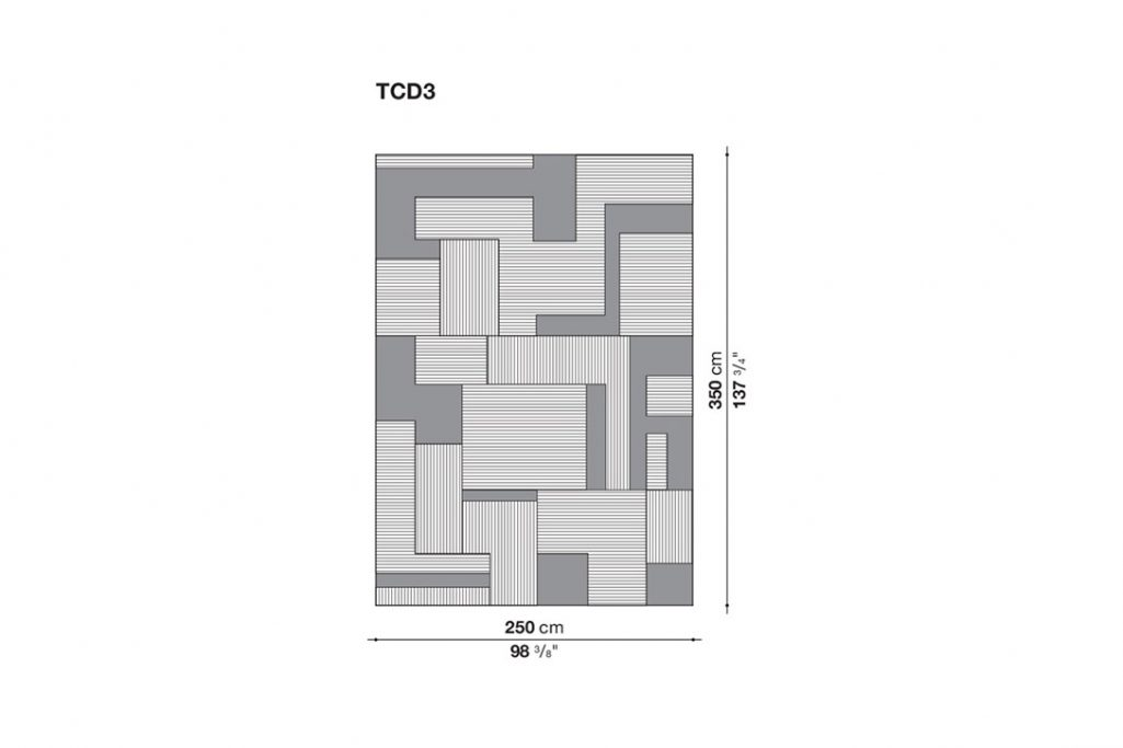 line drawing and dimensions for b&b italia caldes rug rectangular