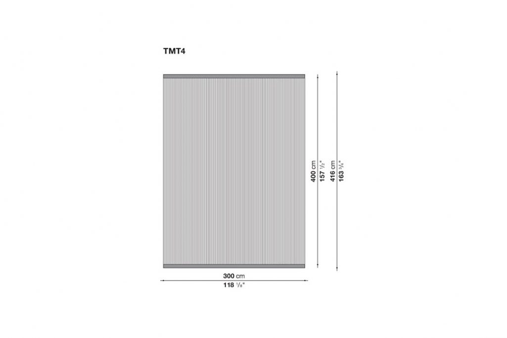line drawing and dimensions for b&b italia timo rug