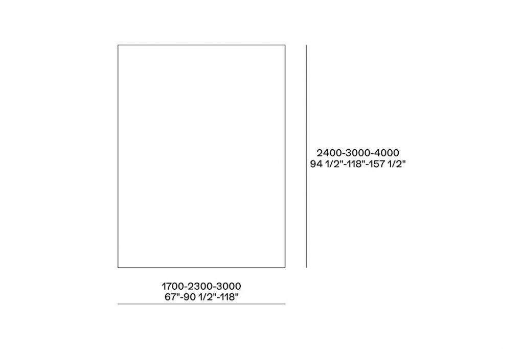 line drawing and dimensions for poliform frame rug rectangular